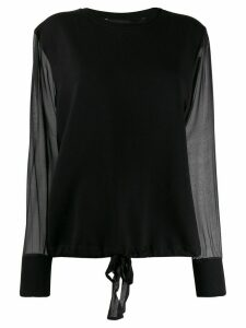 Federica Tosi sheer sleeve sweatshirt - Black