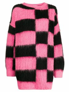 MSGM oversized checked sweater - PINK
