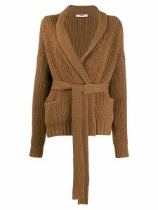 Roberto Collina belted long-sleeve cardigan - Brown