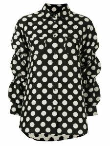 pushBUTTON polka dot sausage sleeve shirt - Black