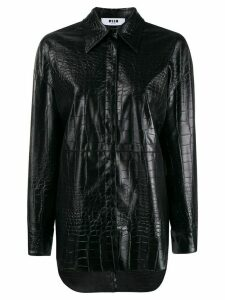 MSGM crocodile embossed faux leather shirt - Black