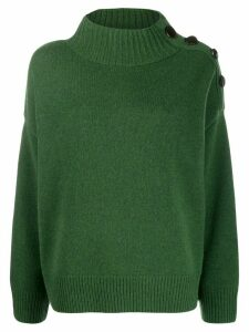 Yves Salomon funnel-neck button-shoulder sweater - Green