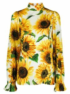 Dolce & Gabbana sunflower print high neck blouse - White