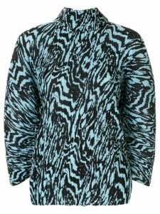 Solace London pleated animal print blouse - Blue