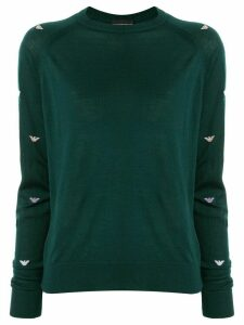 Emporio Armani logo-sleeve knit sweater - Green