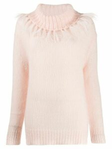 Twin-Set fringed roll neck jumper - PINK