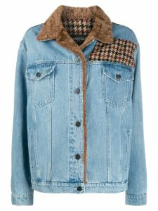 Simonetta Ravizza Caio denim jacket with sheraling collar and piping -