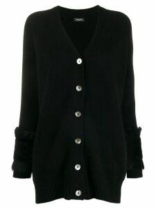 Simonetta Ravizza shearling cuff cardigan - Black