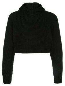 Anton Belinskiy cropped knit hoodie - Black