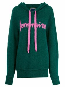 Marco Rambaldi embroidered fine knit hoodie - Green