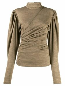 Isabel Marant ruched turtle neck sweater - Green