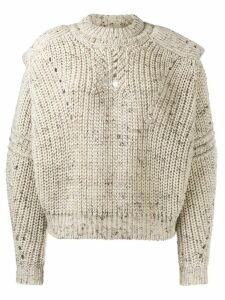Isabel Marant chunky knit cut-out detail jumper - NEUTRALS