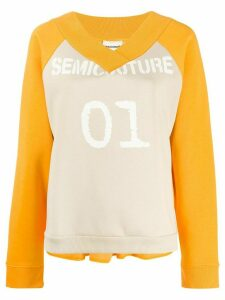 Semicouture logo peplum sweatshirt - Yellow