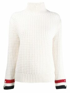 Thom Browne Waffle Stitch Mockneck Pullover - White