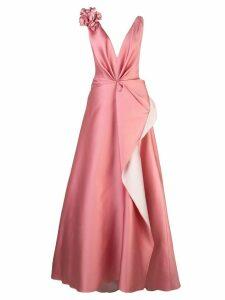 Marchesa flower appliqué gown - PINK