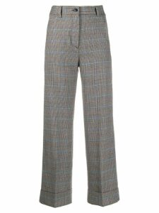 Brag-wette high-rise check trousers - Grey