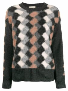 Drumohr patterned crew-neck jumper - Black