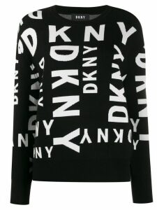 DKNY all-over logo print sweater - Black