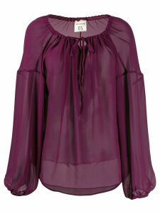 Semicouture oversized long-sleeve blouse - PURPLE