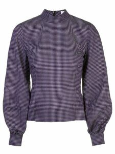 GANNI gingham check pouf-sleeve top - PURPLE