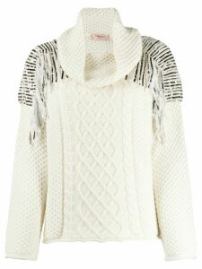 Twin-Set sequin-embellished cable-knit jumper - White