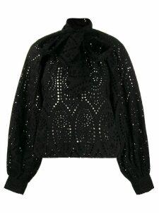 GANNI tie neckline blouse - Black