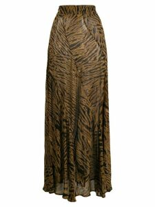 GANNI tiger-print maxi skirt - Brown