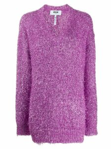 MSGM V-neck lurex jumper - PINK