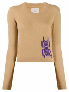 Frankie Morello contrast insect knit jumper - NEUTRALS