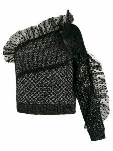 Alberta Ferretti tulle-panelled one-shoulder top - Black