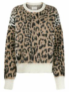 Laneus leopard print knit jumper - NEUTRALS