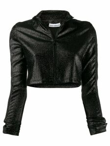 Paco Rabanne cropped glitter zip-up jumper - Black