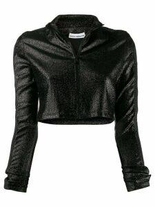 Paco Rabanne cropped glitter zip-up jumper - Black