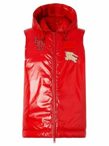 Burberry high-shine logo patch gilet - Red