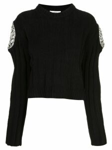 Area crystal-embellished cropped sweater - Blue