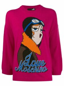 Love Moschino aviator intarsia-knit jumper - Pink