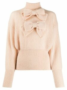 Zimmermann bow embroidered knit jumper - PINK
