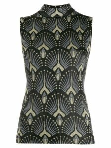 Paco Rabanne jacquard knitted top - Black