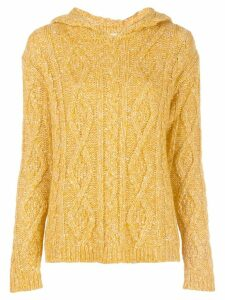 Majestic Filatures cable-knit hooded top - Yellow