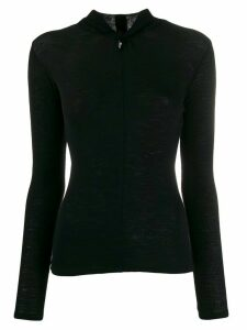 Vince ribbed twisted long-sleeve top - Black