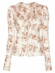 Paco Rabanne floral print diamanté button blouse - MULTICOLOURED
