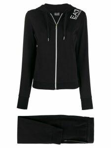 Ea7 Emporio Armani logo print zipped hoodie - Black
