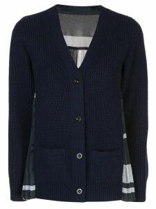 Sacai pleated-back knit cardigan - Blue