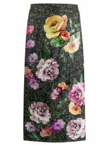 Dolce & Gabbana tweed floral print skirt - Grey