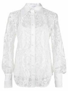 Marchesa pearl button lace shirt - White