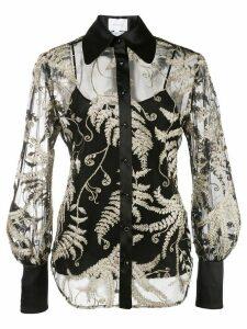 Marchesa embroidered organza blouse - Black