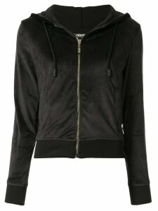 Roberto Cavalli logo tape zip-front hoodie - Black