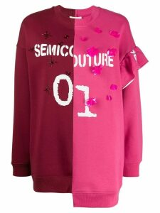 Semicouture logo asymmetric sweatshirt - Red