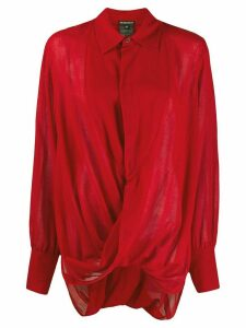 Ann Demeulemeester stitched twist shirt - Red