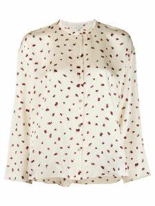 Vince floral-print silk blouse - White